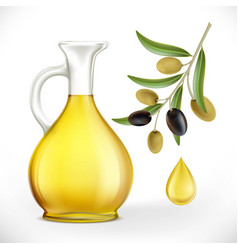 glass jug with oil and olives with leaves on a vector image