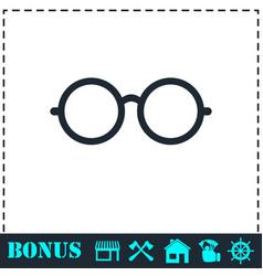 Glasses icon flat vector