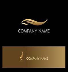 gold leaf beauty logo vector image