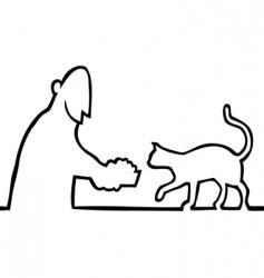 guy feeding cat vector image