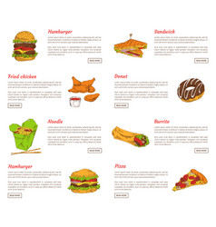 hamburger and fried chicken vector image