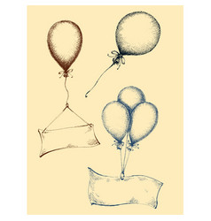 hand drawn balloons collection isolated vector image