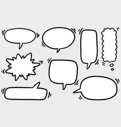 Hand drawn set speech bubbles doodle set vector