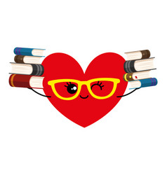 heart in glasses and with books in hands vector image