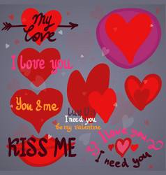 hearts design elements valentine vector image