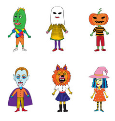 helloween costumes drawings vector image