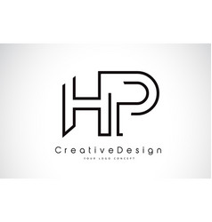 Hp h p letter logo design in black colors vector