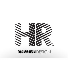 Hr h r lines letter design with creative elegant vector
