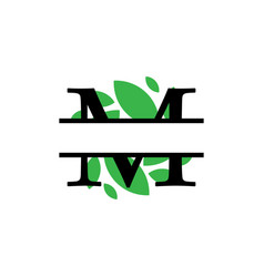 Initial m green leaf monogram split letter vector