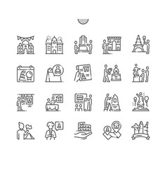 International day for monuments thin line icons vector