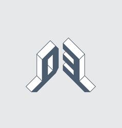Isometric 3d font for design original letters d vector