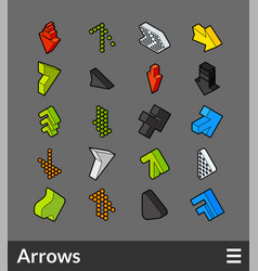 Isometric outline color icons set vector