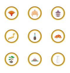 Japan sight icons set cartoon style vector