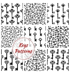 Keys seamless patterns set vector image