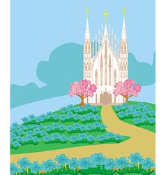 Landscape with a beautiful Catholic church vector