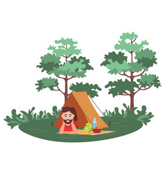 leisure in forest man in tent picnic vector image