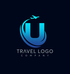 letter u tour and travel logo design vector image