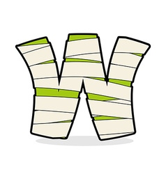 Letter W Mummy Typography icon in bandages vector image