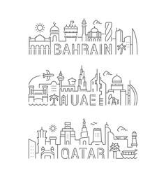 linear banners uae bahrain qatar vector image