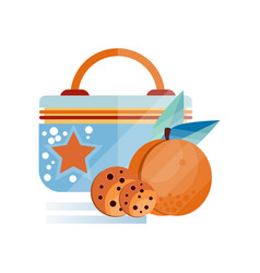 Lunch bag with chocolate cookie and peach fruit vector