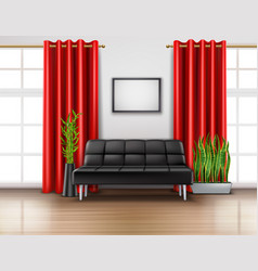 luxury red curtains realistic interior vector image