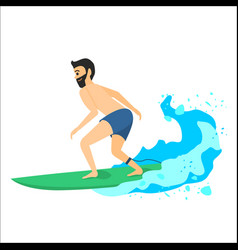 man riding on surfboard vector image