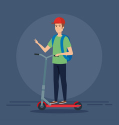Man wearing cap riding electric scooter vector