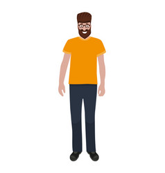 man with a beard and glasses isolated on a white vector image
