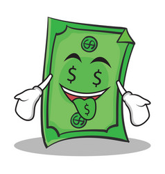 money mouth face dollar character cartoon style vector image
