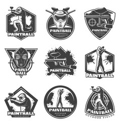 Monochrome vintage paintball club labels set vector