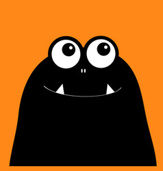 Monster head silhouette two eyes teeth fang black vector