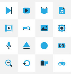 Multimedia colorful icons set collection of top vector