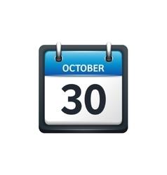 October 30 Calendar icon flat vector