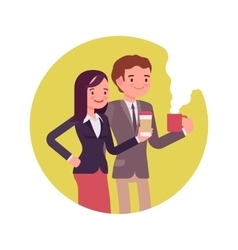 Office workers with coffee vector image
