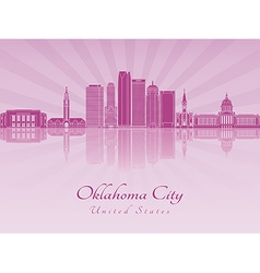 Oklahoma City V2 skyline in purple radiant orchid vector image