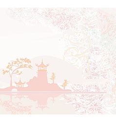 old paper with Chinese Temple on Asian Landscape vector image