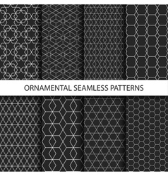 Ornamental seamless patterns - dark design vector
