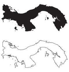Panama country map black silhouette and outline vector