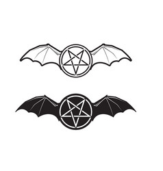 Pentagram with demon bat wings icon vector