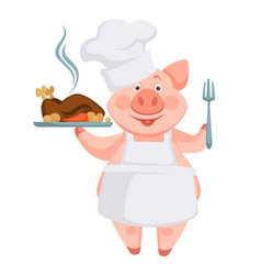 pig with cooked dish served on plate roasted vector image