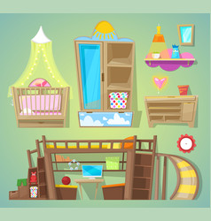 Playroom children furniture bed in vector