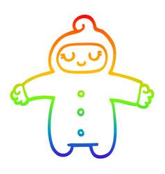 Rainbow gradient line drawing cartoon baby vector