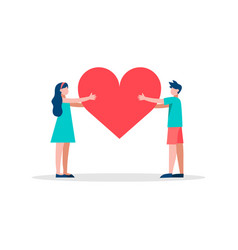 Red heart shape people concept vector