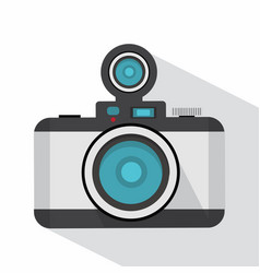 retro photo camera with long shadow vector image