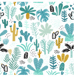 seamless jungle pattern with cactuses branches vector image