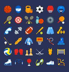 set flat icons of sports equipment vector image