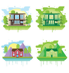 Set of landscapes with modern houses family home vector