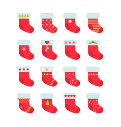 set of red christmas socks christmas stocking vector image