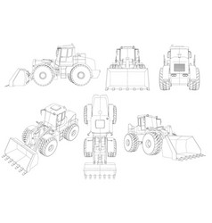 set with contours of the bulldozer 3d black line vector image