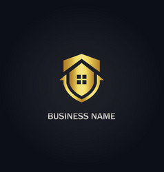shield save house gold logo vector image